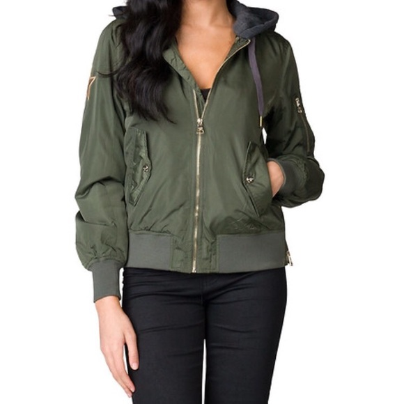 wide selection of designs choose authentic choose clearance Madden Girl Hooded Bomber Jacket Green NWT